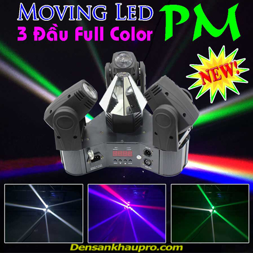 đèn moving head 3 đầu, đèn moving head sân khấu